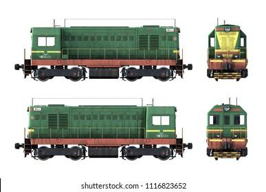 3d-render of old diesel locomotive ChME2