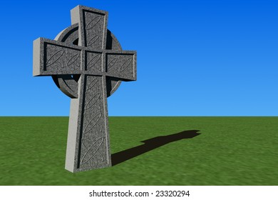 A 3D-rendered stone Celtic cross, with additional copy space.