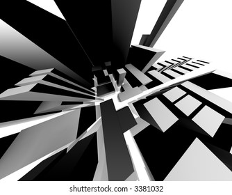 3D-Rendering of an abstract city. Interesting perspective.