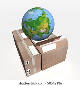 3D-rendering of a globe on cartons