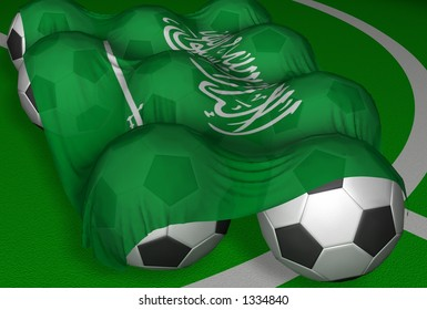 3D-rendering Saudi Arabia flag and soccer-balls - competitor of World Championship 2006