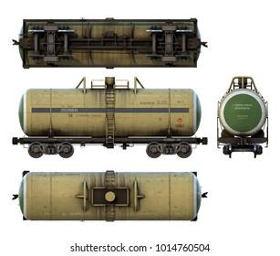 3d-renders of cargo railroad fuel tank