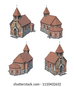 3d-renders of old cathedral