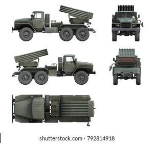 3d-renders of Soviet military vehicle BM-21 Grad