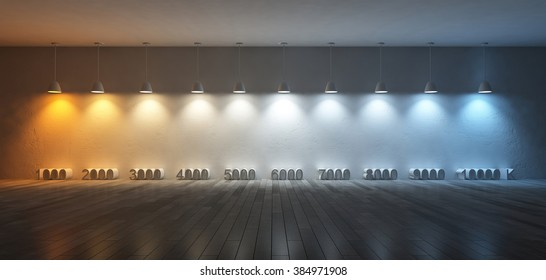 3Ds rendered image of 10 hanging lamps which use different bulbs. Color temperature scale. spectrum color on the cracked concrete wall and wooden floor