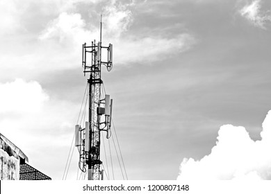 3G, 4G and 5G Cell site, Telecommunication tower, radio tower or mobile phone base station. Wireless Communication Antenna. Development of communication systems in urban area.