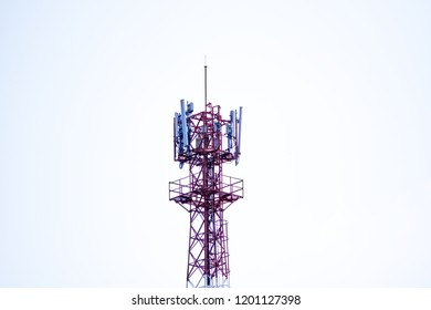 3G, 4G and 5G Cell site, Telecommunication tower, radio tower or mobile phone base station. Wireless Communication Antenna. Development of communication systems in urban area. On white background.