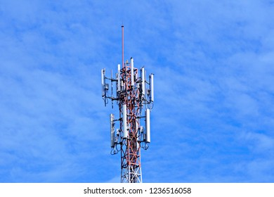 3G, 4G and 5G cell site. Base Station or Base Transceiver Station. Cell tower or Telecommunication tower. Wireless Communication Antenna Transmitter. Development of communication system in urban area.