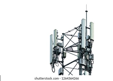 3G, 4G and 5G Cell site, Telecommunication tower, radio tower or mobile phone base station. Wireless Communication Antenna. Development of communication systems in urban area and on white background.