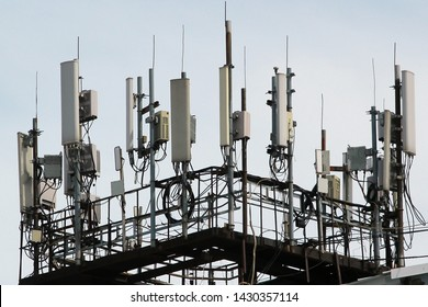 3G, 4G and 5G cellular antennas. Base Transceiver Station. Telecommunication tower. Wireless Communication Antenna Transmitters.