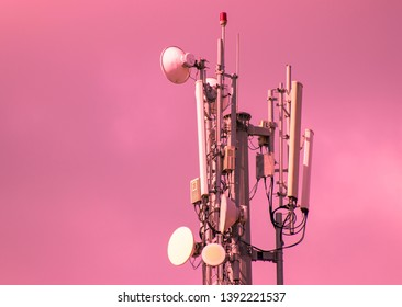 3G, 4G and 5G cellular. Base Station or Base Transceiver Station. Telecommunication tower. Wireless Communication Antenna Transmitter. Telecommunication tower with antennas