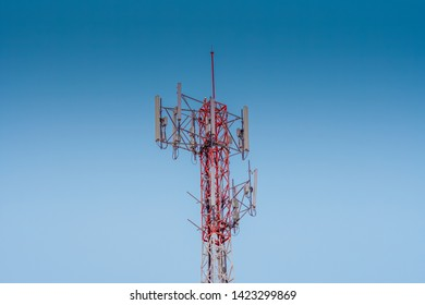 3G, 4G and 5G cellular. Base Station or Base Transceiver Station. Telecommunication tower. Wireless Communication Antenna Transmitter. Telecommunication tower with antennas.