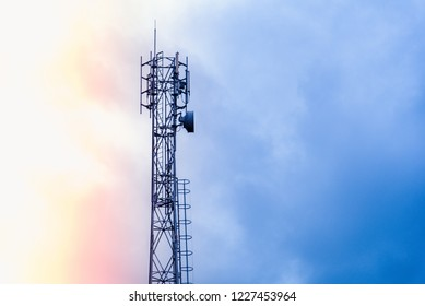 3G, 4G, Communication tower with antennas such a Mobile phone tower, Cellphone Tower, Phone Pole etc on the clear blue sky background.