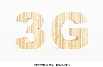 3G symbol made with wood on a white background. 3d Rendering.