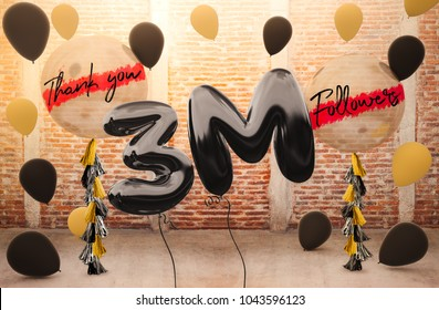 3M or 3 Million followers thank you with brilliant Balloons background. For your Celebration and Appreciation for social Network friend, Web user Thank you or celebrate of subscriber, follower, like
