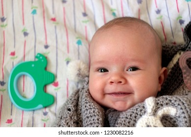 A 3-months-old smiling baby boy in the grey knitted sleeping bag.Toothless first smile. Concept of infancy, happiness, beginning of new life..