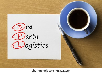 3PL 3rd Party Logistics - handwriting on paper with cup of coffee and pen, acronym business concept