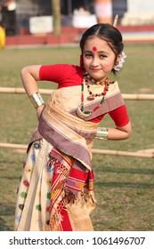 3rd April 2018, Guwahati, Assam, India. A little girl dancing Assamese traditional Bihu during a folk dance workshop in Guwahati.