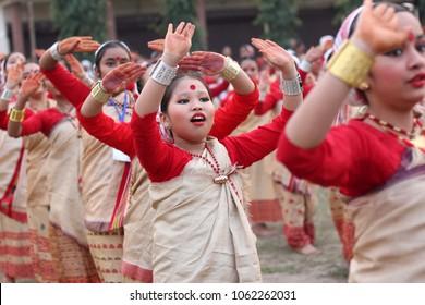 3rd April 2018, Guwahati, Assam, India. Little girls dancing Assamese traditional Bihu during a folk dance workshop in Guwahati.