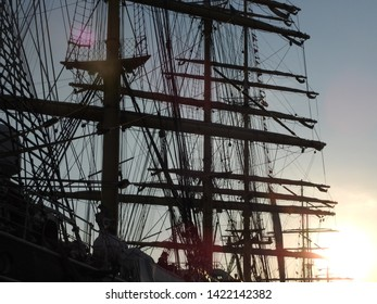 3rd of August  2015 - Close up of silhouette masts and rigging of a vintage tallship taken in backlight, Aalborg, Denmark
