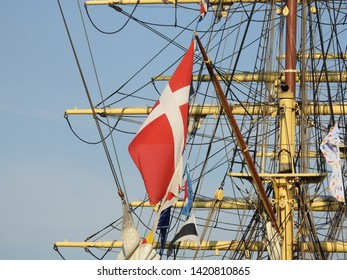 3rd of August  2015 - Danish flag and details from the mast and rigging of an old tallship, Aalborg, Denmark