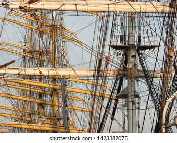 3rd of August 2015 - Details from a row of tallships with masts and riggings against a blue sky, Aalborg, Denmark