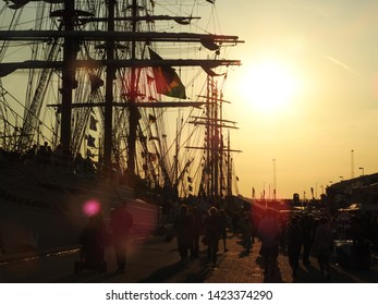 3rd of August 2015 - Details from a vintage tallship with silhouette mast and rigging shot in backlight making an artistic impression, Aalborg, Denmark