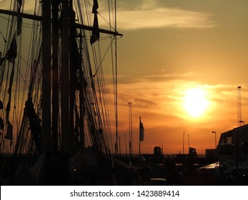 3rd of August 2015 - Scene from a Danish port with details from a tallship shot in backlight, Aalborg, Denmark