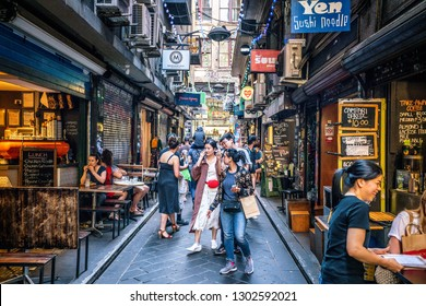3rd January 2019, Melbourne Australia: street view of Centre Place an iconic pedestrian laneway with cafe and people in Melbourne Australia