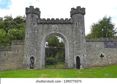 3rd May 2019, Slane, Co Meath, Ireland. The original Slane Castle entrance tower arch called East Gate in Slane village.