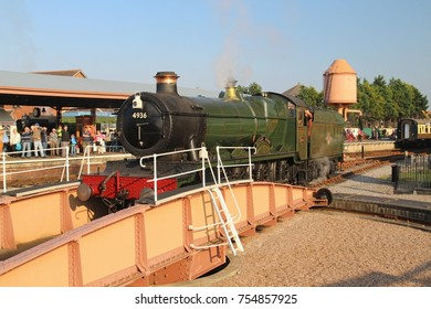 3rd October, 2015 a4 4.30pm.  Minehead Station on West Somerset Railway.  Kinlet Hall, 4936 steam engine on turntable.