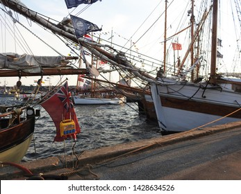 3rdof August 2015 - Scene from a Daniush harbor with vintage sailing ships, Aalborg, Denmark