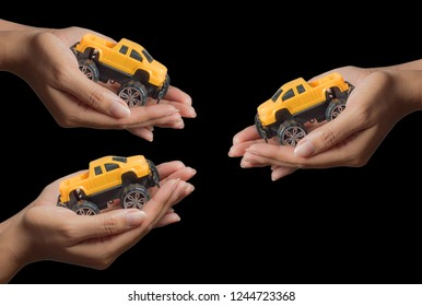 3The colour yellow toy car ngonmue women to protect car insurance protection. The concept of waiver of car collisions with posture, prevention and protection of , car, concept, new truck