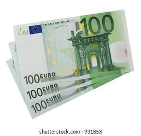 3x 100 Euro bills (isolated)