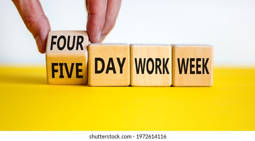 4 or 5 day work week symbol. Businessman turns the cube, changes words 'five day work week' to 'four day work week'. Beautiful white background. Copy space. Business and 4 or 5 day work week concept.