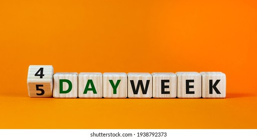 4 or 5 work day per week symbol. Turned the cube and changed words '5 day week' to '4 day week'. Beautiful orange background. Copy space. Business and 4 or 5 day week concept.