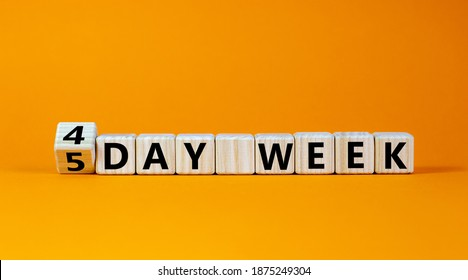 4 or 5 workday symbol. Turned the cube and changed words '5 day week' to '4 day week'. Beautiful orange background. Copy space. Business and 4 or 5 day week concept.