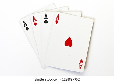 4 aces (playing cards) on a white background