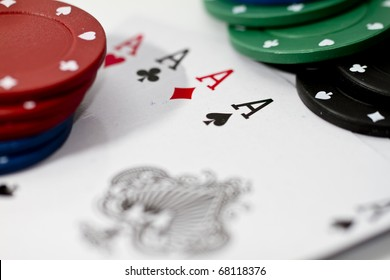 4 Aces and Poker Chips. Four of a kind and possible full house.