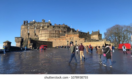 4 April 2018 Edinburgh Castle Edinburgh Scotland England. Tourist come to visit and sightseeing in the town.
