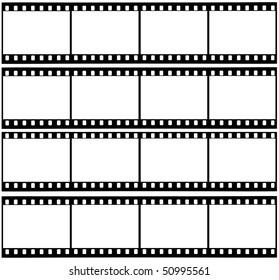 4 blank strips of a 35 mm filmroll