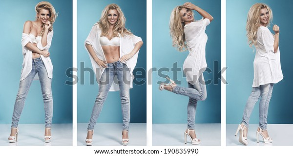 4 of blonde beauty wearing sexy lingerie and jeans