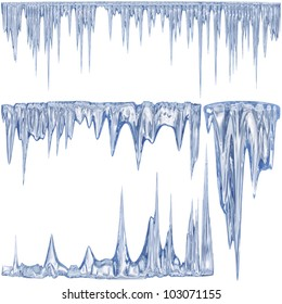 4 blue color thawing icicles as a symbol of cold winter