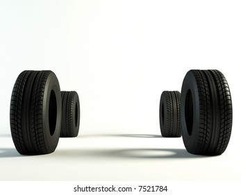 4 Brand new tyre, 3d rendering of car wheel. front view