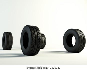 4 Brand new tyre, 3d rendering of car wheel. side view