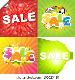 4 Colorful Sale Posters With Sunburst