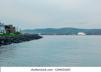 4 Dec 2018 The Port of Belfast in Northern Ireland seen from Holywood to the east of the city. Viewed across the rocky breakwater a Stena line Ferry can be seen at her berth