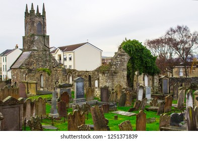 4 December 2018 he ancient Old Priory ruins and cemetery in Holywood Northern Ireland. The present ruins are 12th century Anglo-Norman Augustinian Abbey