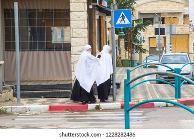 4 December 2018 Young Druze Islamic women in full dress in an Arab community in the Golan Heights Israel.