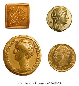 4 different genuine antique gold coins.